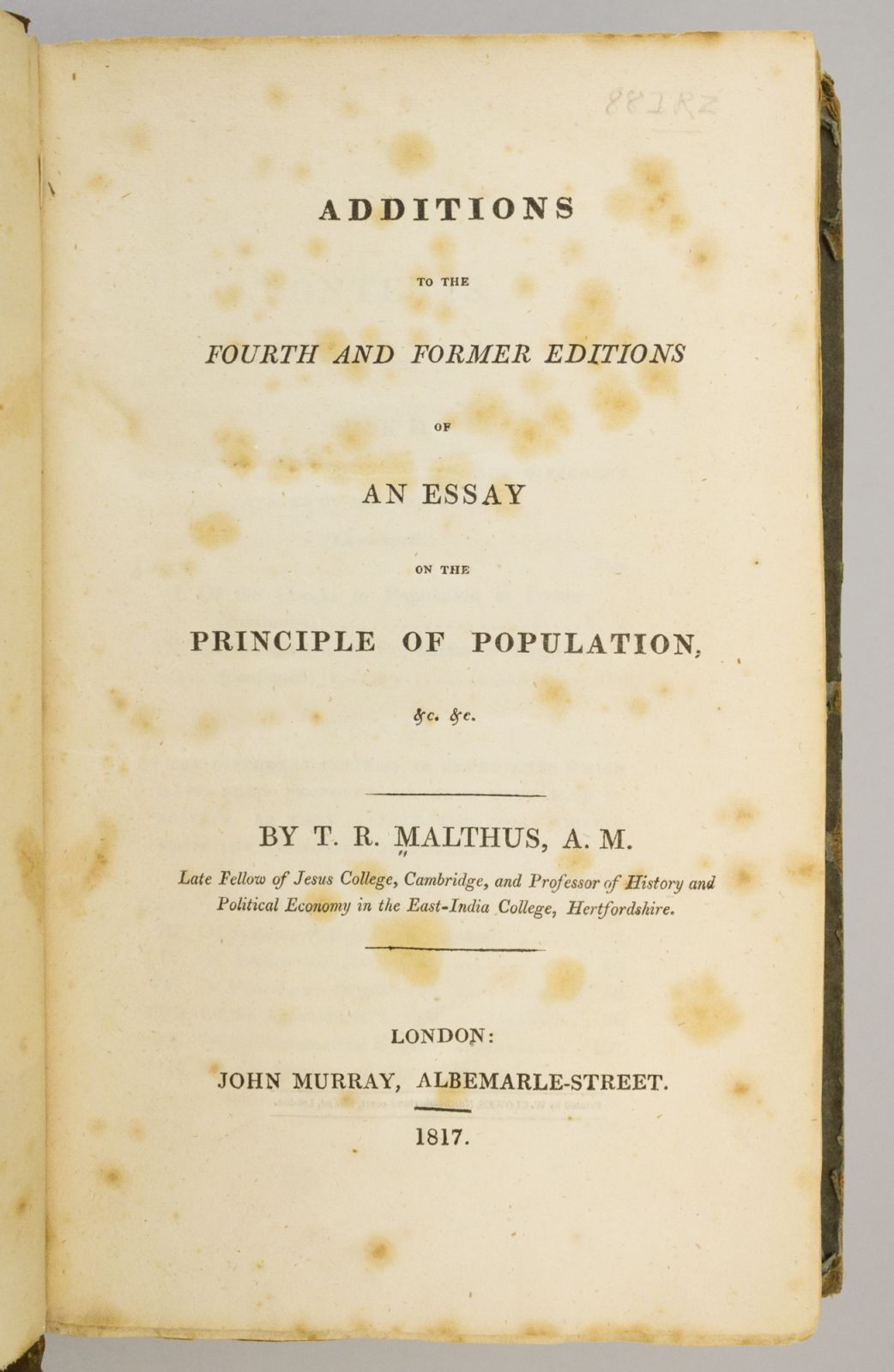 Pirages malthus additions to essay on population 1817