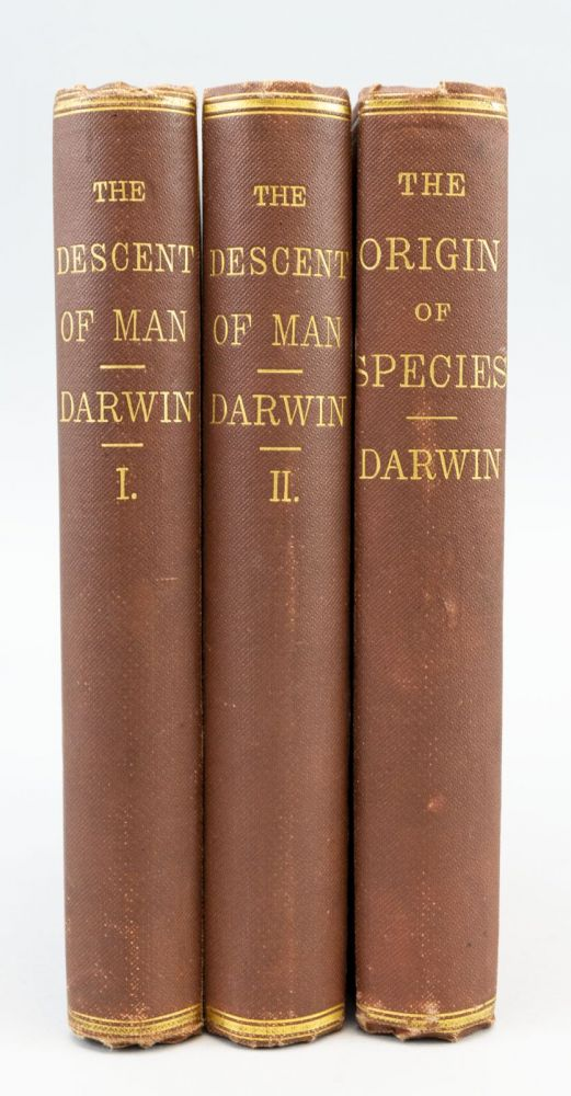 THE DESCENT OF MAN with ON THE ORIGINS OF SPECIES. CHARLES DARWIN.