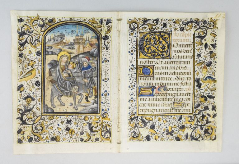 TEXT FROM BEGINNING OF TERCE. WITH A. DEMI-GRISAILLE MINIATURE DEPICTING THE FLIGHT INTO EGYPT A VELLUM BIFOLIUM FROM A. BOOK OF HOURS IN LATIN.