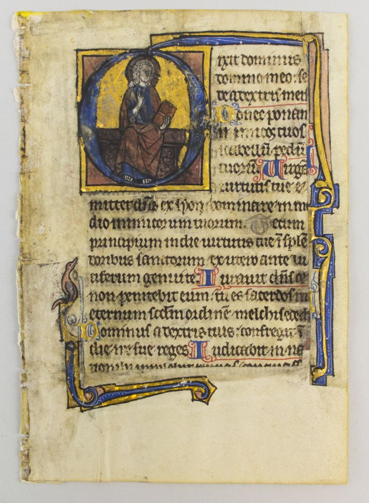 "TEXT FROM PSALMS 109-10. WITH AN EIGHT-LINE HISTORIATED ""D"" AN ILLUMINATED VELLUM MANUSCRIPT LEAF FROM A. PSALTER IN LATIN."