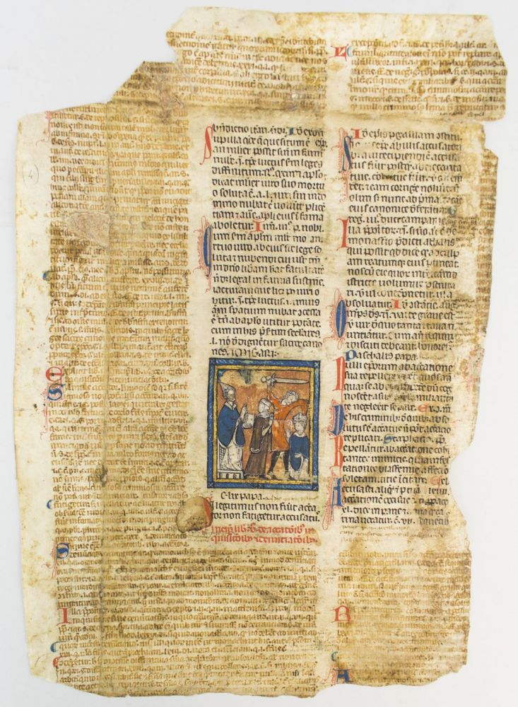 "TEXT FROM END OF BOOK FOUR AND BEGINNING OF BOOK FIVE. WITH AN IMAGE OF AN EXECUTION MOST OF A. LARGE VELLUM MANUSCRIPT LEAF FROM A. GLOSSED ""DECRETALES"" OF GREGORY IX."