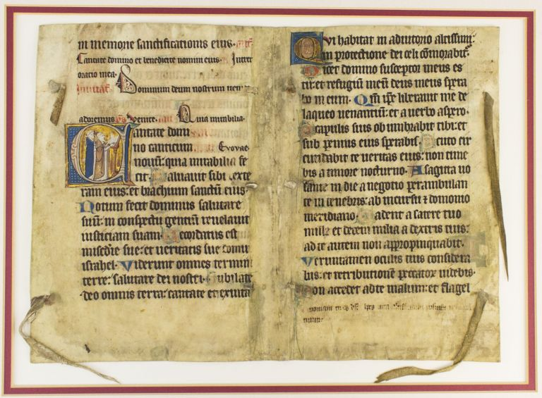 "TEXT FROM PSALM 97. WITH AN HISTORIATED ""D"" A LARGE VELLUM ILLUMINATED MANUSCRIPT BIFOLIUM FROM A. PSALTER IN LATIN."
