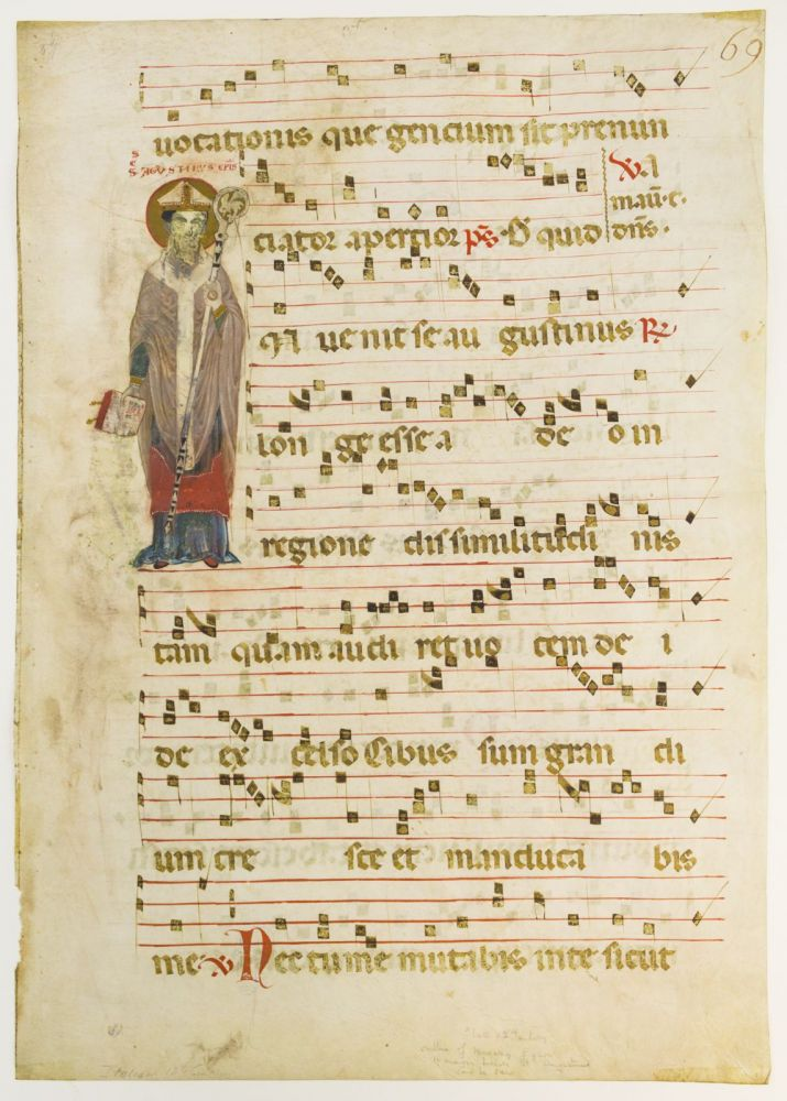 WITH AN UNUSUAL IMAGE OF SAINT AUGUSTINE A LARGE VELLUM MANUSCRIPT LEAF FROM AN ANTIPHONARY IN LATIN.