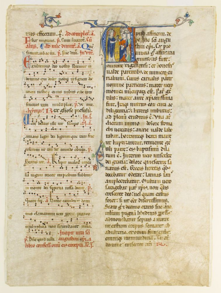 WITH AN HISTORIATED INITIAL DEPICTING SAINT AUGUSTINE A VERY LARGE VELLUM MANUSCRIPT LEAF FROM A. NOTED BREVIARY IN LATIN.