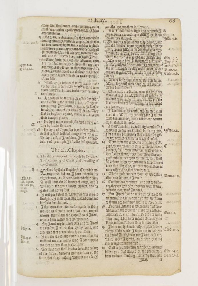 TEXT FROM ISAIAH. A PRINTED LEAF FROM A. BIBLE IN ENGLISH, THE BISHOPS' BIBLE.