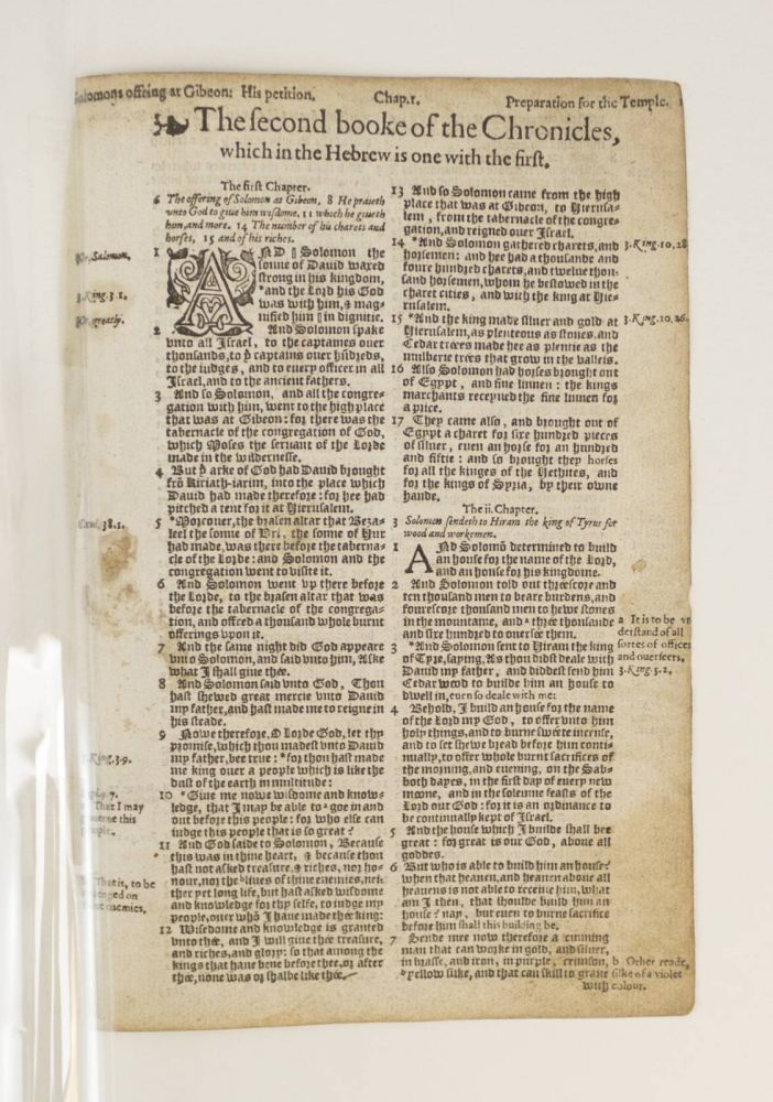 TEXT FROM II CHRONICLES. A PRINTED LEAF FROM A. BIBLE IN ENGLISH, THE BISHOPS' BIBLE.