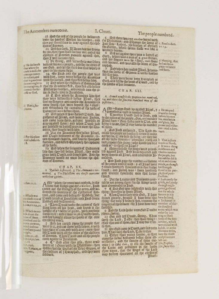 TEXT FROM I CHRONICLES. A PRINTED LEAF FROM A. BIBLE IN ENGLISH, THE GENEVA BIBLE.