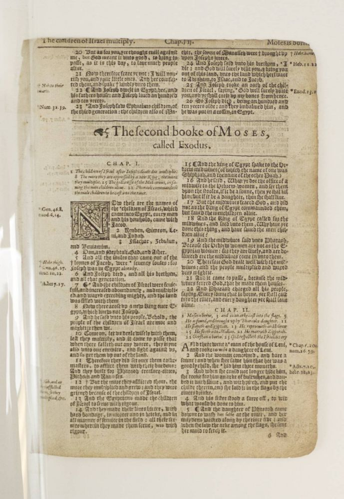 TEXT FROM EXODUS. OFFERED INDIVIDUALLY TWO PRINTED LEAVES, FROM A. BIBLE IN ENGLISH, THE KING JAMES BIBLE.