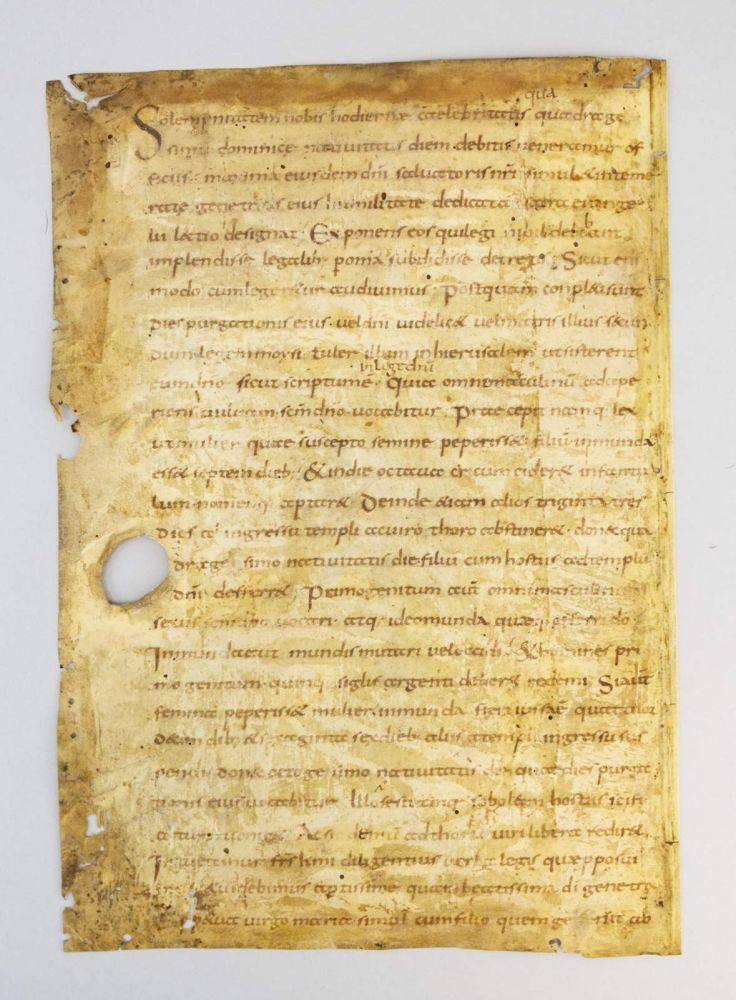 TEXT FROM HOMILY 24, FOR THE FEAST OF THE PURIFICATION OF THE BLESSED VIRGIN MARY. FROM THE VENERABLE BEDE'S HOMILIES ON THE GOSPELS A NINTH CENTURY VELLUM MANUSCRIPT LEAF, IN LATIN.