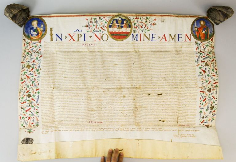 TEXT RELATING TO THE DOMINICAN COMMUNITY OF SANTA MARIA SOPRA MINERVA IN ROME. A LARGE PAPAL BULL OF POPE PAUL III ON VELLUM.