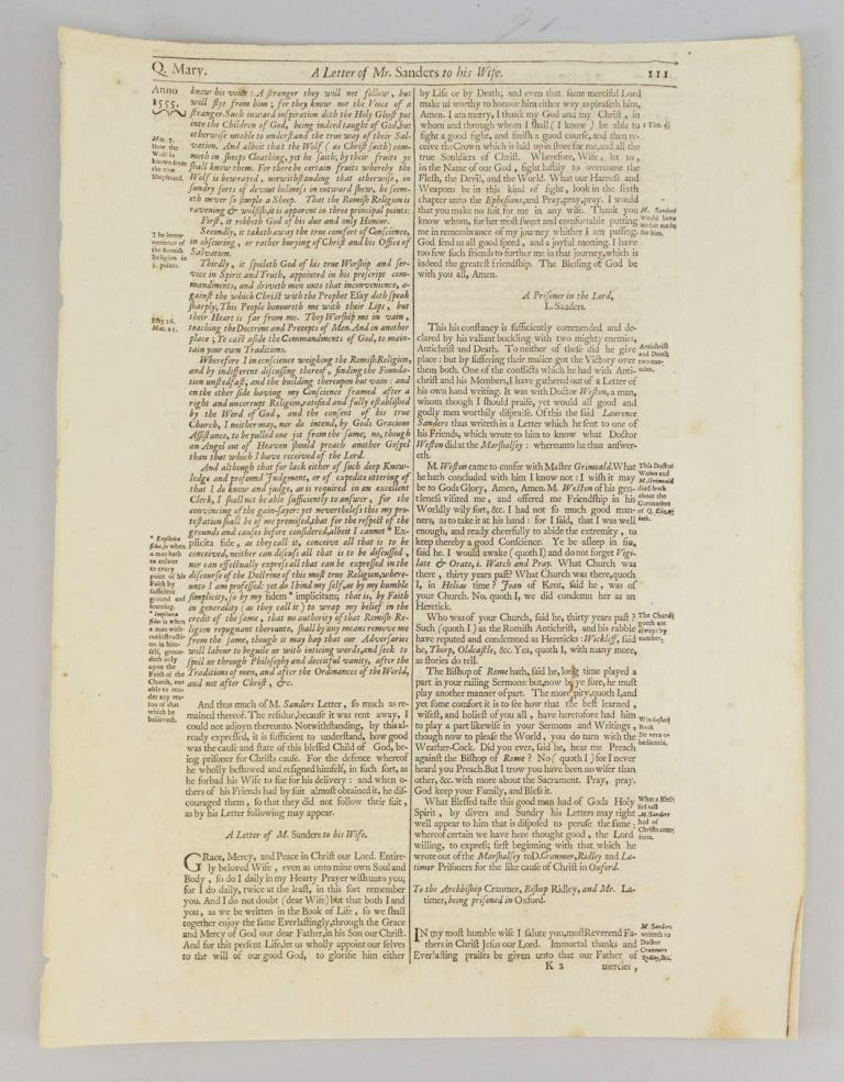 ACTS AND MONUMENTS OF MARTYRS. A PRINTED LEAF FROM JOHN FOXE'S.
