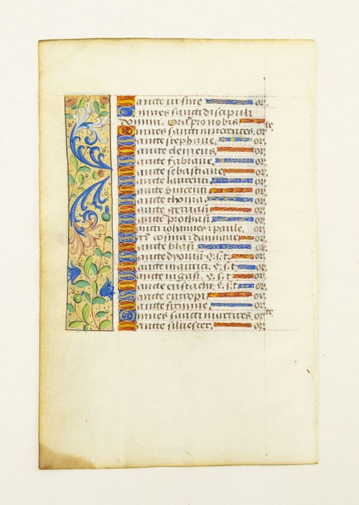 FROM A BOOK OF HOURS IN LATIN WITH FINE PANEL BORDERS. OFFERED INDIVIDUALLY ILLUMINATED VELLUM MANUSCRIPT LEAVES.