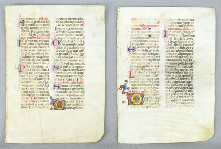 OFFERED INDIVIDUALLY TWO ATTRACTIVE ILLUMINATED VELLUM MANUSCRIPT LEAVES, FROM A. MISSAL IN LATIN.