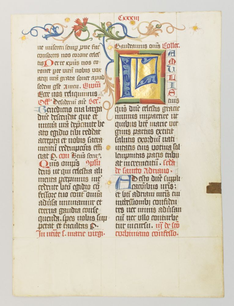 TEXT FROM THE FEAST OF THE NATIVITY OF THE BLESSED VIRGIN MARY. A. DECORATIVE ILLUMINATED VELLUM MANUSCRIPT LEAF FROM A. MISSAL IN LATIN.