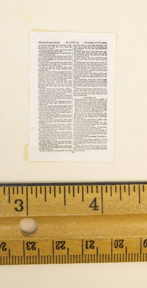 TEXT FROM LUKE. A PRINTED LEAF FROM A. MINIATURE BIBLE IN ENGLISH.
