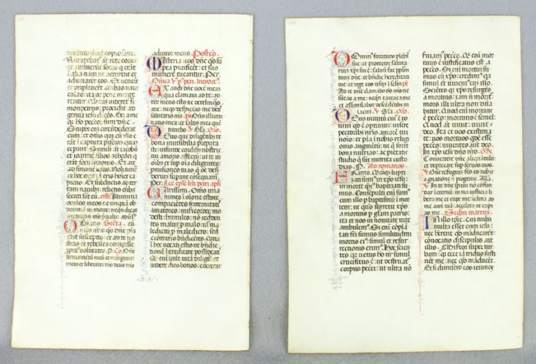 OFFERED INDIVIDUALLY TWO ILLUMINATED VELLUM MANUSCRIPT LEAVES, FROM A. MISSAL IN LATIN.