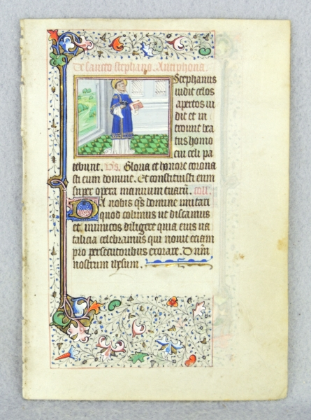 TEXT FROM THE SUFFRAGES. FROM A. FINE BOOK OF HOURS IN LATIN AN ILLUMINATED VELLUM MANUSCRIPT LEAF WITH TWO CHARMING MINIATURES OF MALE SAINTS.