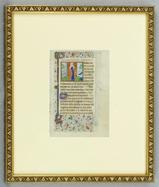 TEXT FROM THE SUFFRAGES. FROM A. FINE BOOK OF HOURS IN LATIN AN ILLUMINATED VELLUM MANUSCRIPT LEAF WITH TWO CHARMING MINIATURES OF FEMALE SAINTS.