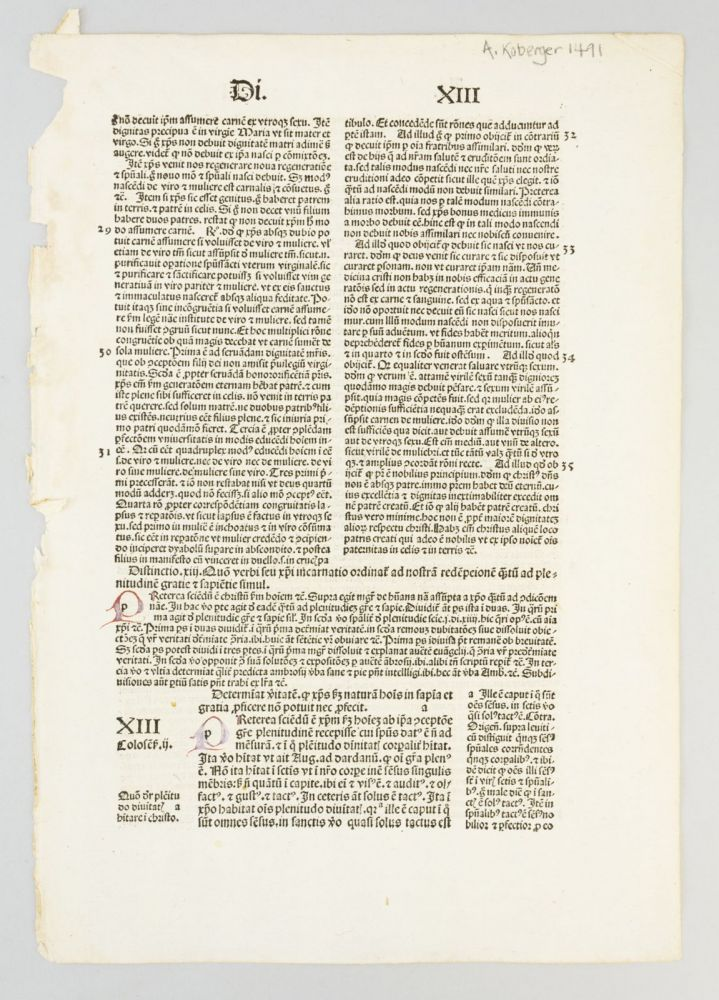 SENTENTIARUM LIBRI IV. A PRINTED LEAF FROM PETER LOMBARD'S.
