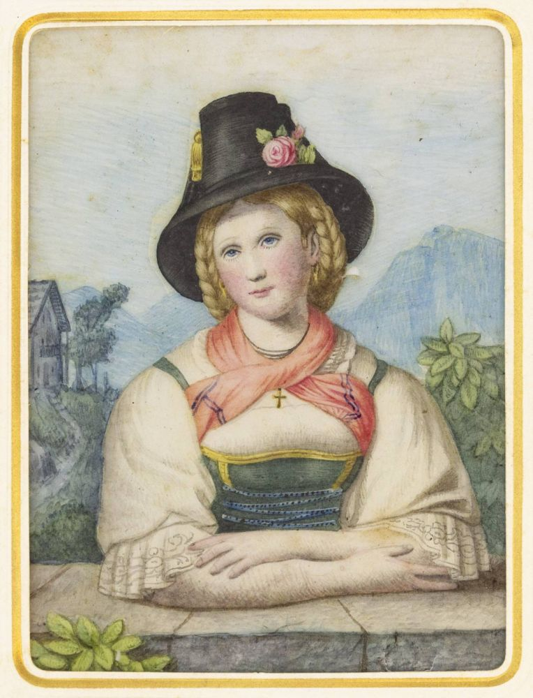 "PORTRAIT OF A WOMAN FROM THE LOWER INN VALLEY IN HER TRADITIONAL COSTUME. PAINTING ON COBWEB, ""GEMÄLDE AUF SPINNENGEWEBE."""