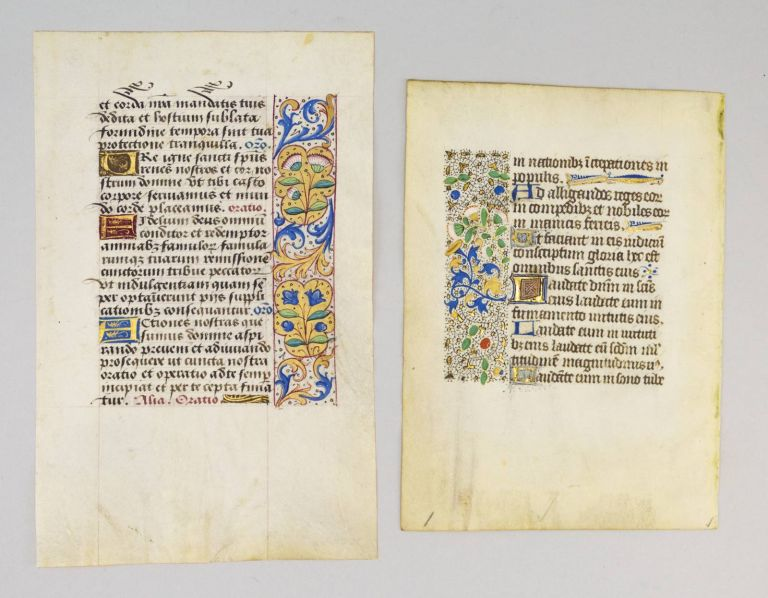 OFFERED INDIVIDUALLY THREE VERY PRETTY VELLUM ILLUMINATED MANUSCRIPT LEAVES WITH ATTRACTIVE BORDERS, FROM BOOKS OF HOURS IN LATIN.