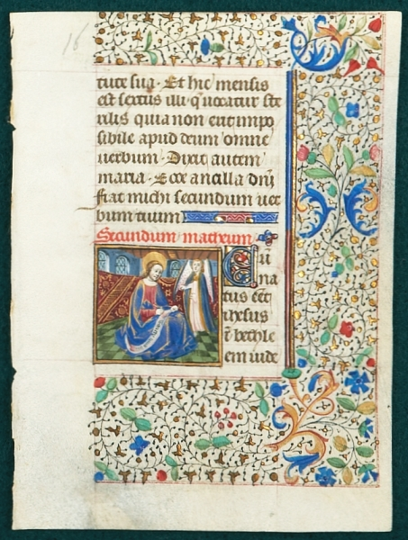 TEXT FROM GOSPEL LESSONS. FROM A. BOOK OF HOURS IN LATIN AN ILLUMINATED VELLUM MANUSCRIPT LEAF WITH A. SMALL MINIATURE OF SAINT MATTHEW.