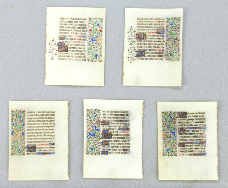 OFFERED INDIVIDUALLY ESPECIALLY PRETTY SMALL ILLUMINATED VELLUM MANUSCRIPT LEAVES, FROM A. BOOK OF HOURS IN LATIN.
