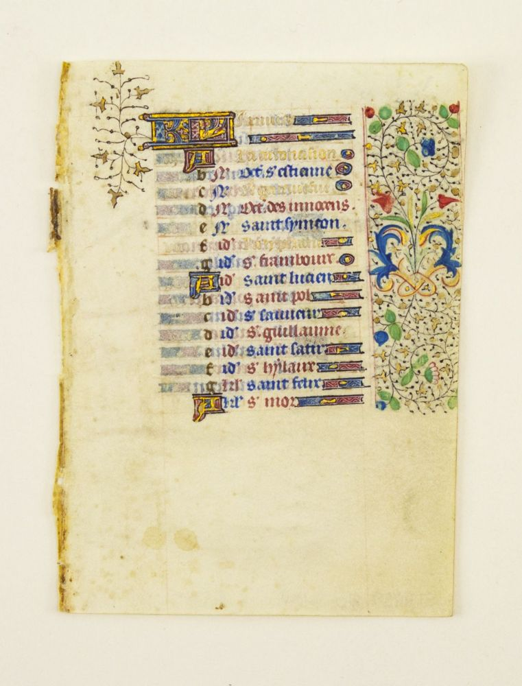 FROM A BOOK OF HOURS IN LATIN. OFFERED INDIVIDUALLY ESPECIALLY PRETTY SMALL ILLUMINATED VELLUM MANUSCRIPT LEAVES.