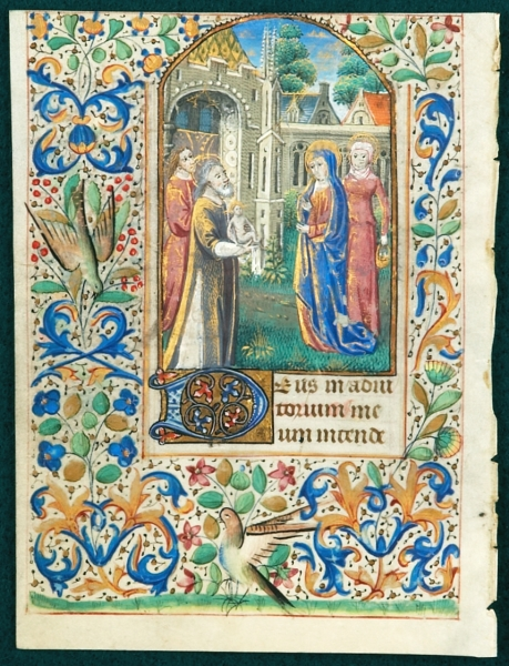 TEXT FROM THE OPENING OF NONE. FROM A. BOOK OF HOURS IN LATIN AN ILLUMINATED VELLUM MANUSCRIPT LEAF WITH A. RICHLY DETAILED MINIATURE OF THE PRESENTATION IN THE TEMPLE.