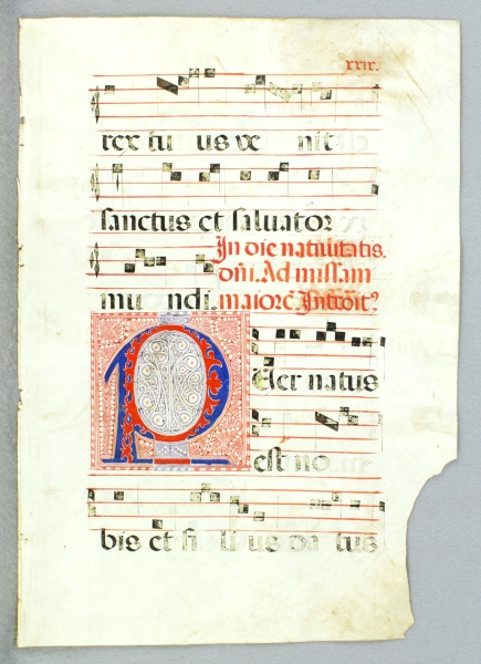 OFFERED INDIVIDUALLY VERY LARGE DECORATED VELLUM MANUSCRIPT LEAVES, FROM AN ANTIPHONER IN LATIN.