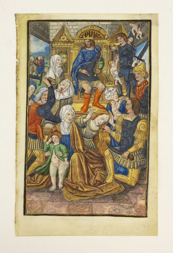 TEXT FROM VESPERS. EXTREMELY LARGE ILLUMINATED MINIATURE PAINTING OF THE MASSACRE OF THE INNOCENTS A. PRINTED VELLUM LEAF WITH A. VERY FINE, FROM A. BOOK OF HOURS IN LATIN.