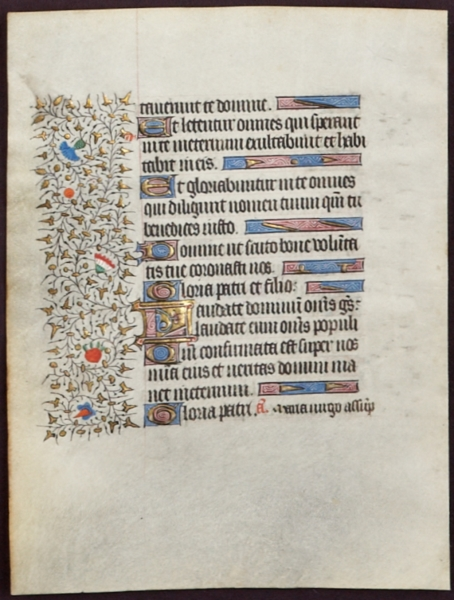 OFFERED INDIVIDUALLY BEAUTIFUL ILLUMINATED VELLUM MANUSCRIPT LEAVES, FROM A. BOOK OF HOURS IN LATIN.