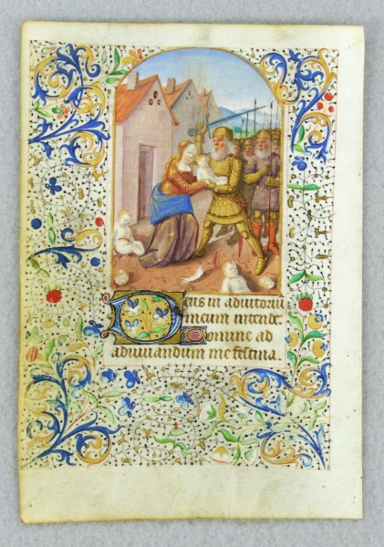 TEXT FROM THE OPENING OF VESPERS. FROM A. FINE BOOK OF HOURS IN LATIN AND FRENCH AN ILLUMINATED VELLUM MANUSCRIPT LEAF WITH A. GRUESOME MINIATURE OF THE MASSACRE OF THE INNOCENTS.