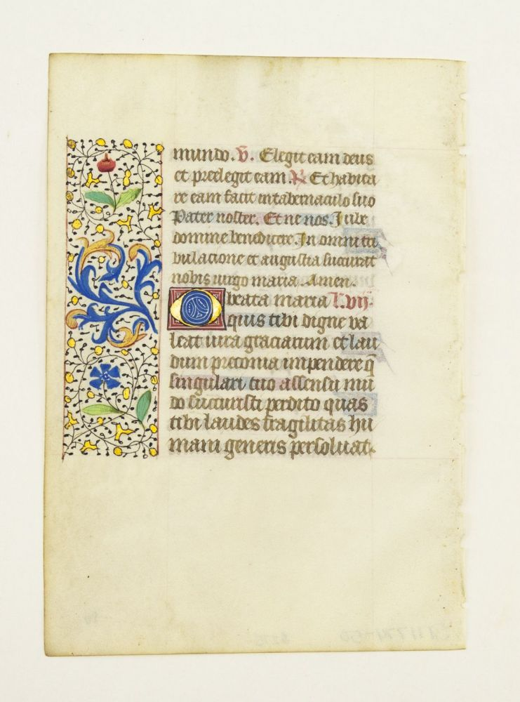 FROM AN ATTRACTIVE BOOK OF HOURS IN LATIN. OFFERED INDIVIDUALLY VERY PRETTY ILLUMINATED VELLUM MANUSCRIPT LEAVES.