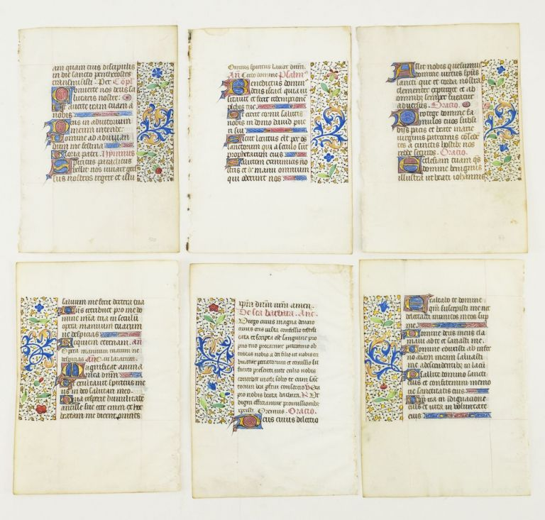 OFFERED INDIVIDUALLY VERY PRETTY ILLUMINATED VELLUM MANUSCRIPT LEAVES, FROM AN ATTRACTIVE BOOK OF HOURS IN LATIN.