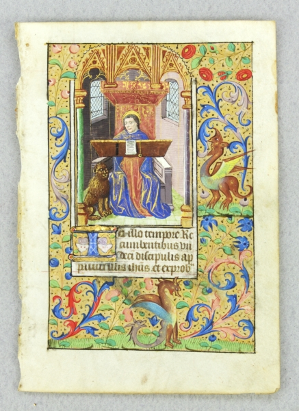 TEXT FROM THE GOSPEL SEQUENCES. FROM A. BOOK OF HOURS IN LATIN AN ILLUMINATED VELLUM MANUSCRIPT LEAF WITH A. MINIATURE DEPICTING SAINT MARK AT HIS WRITING DESK.