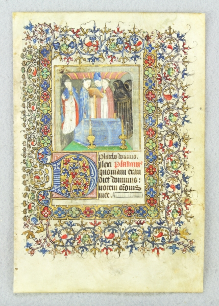 USE OF SAINTES. TEXT FROM THE OFFICE OF THE DEAD. FROM A. BOOK OF HOURS IN LATIN AN ILLUMINATED MANUSCRIPT LEAF ON VELLUM WITH A. MINIATURE OF A. FUNERAL.
