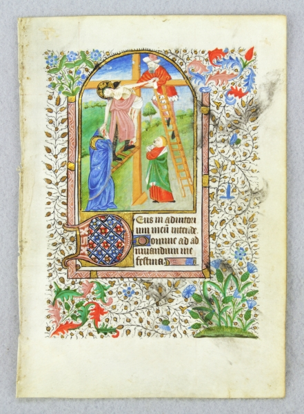 USE OF SAINTES. TEXT FROM THE HOURS OF THE CROSS. FROM A. BOOK OF HOURS IN LATIN AN ILLUMINATED MANUSCRIPT LEAF ON VELLUM WITH AN EXTREMELY EMOTIONAL MINIATURE OF THE DEPOSITION.