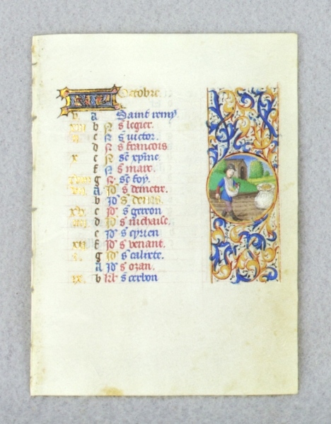 TEXT FOR OCTOBER, WITH ILLUSTRATIONS FOR SOWING AND SCORPIO. DEPICTING THE LABOR OF THE MONTH AN ILLUMINATED VELLUM CALENDAR LEAF FROM A. BOOK OF HOURS.