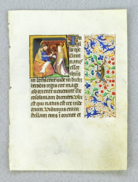 TEXT FROM GOSPEL LESSONS. FROM AN ENGAGING LITTLE BOOK OF HOURS IN LATIN AN ILLUMINATED VELLUM MANUSCRIPT LEAF WITH A. SMALL MINIATURE OF SAINT MATTHEW.