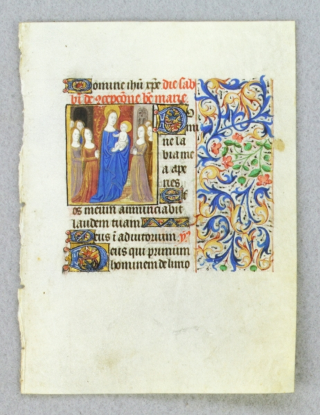 TEXT FROM THE SATURDAY HOURS OF THE CONCEPTION OF THE VIRGIN. FROM AN ENGAGING LITTLE BOOK OF HOURS IN LATIN AN ILLUMINATED VELLUM MANUSCRIPT LEAF WITH A. SMALL MINIATURE OF SAINT ANNE HOLDING THE INFANT VIRGIN MARY.