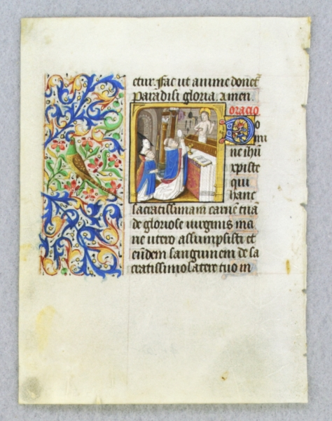 TEXT FROM THE SUFFRAGES OF THE SAINTS. FROM AN ENGAGING LITTLE BOOK OF HOURS IN LATIN AN ILLUMINATED VELLUM MANUSCRIPT LEAF WITH A. SMALL BUT POWERFUL MINIATURE OF SAINT GREGORY.