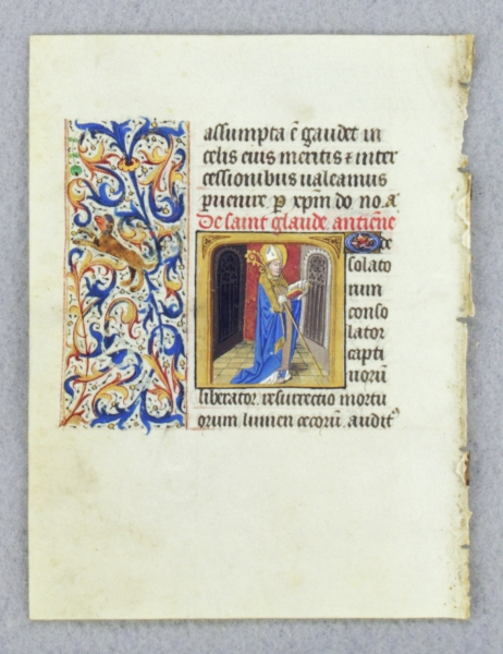 TEXT FROM THE SUFFRAGES OF THE SAINTS. FROM AN ENGAGING LITTLE BOOK OF HOURS IN LATIN AN ILLUMINATED VELLUM MANUSCRIPT LEAF WITH A. SMALL MINIATURE OF SAINT CLAUDE OF BESANÇON.