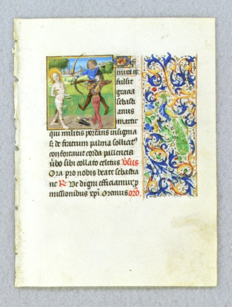 TEXT FROM THE SUFFRAGES OF THE SAINTS. FROM AN ENGAGING LITTLE BOOK OF HOURS IN LATIN AN ILLUMINATED VELLUM MANUSCRIPT LEAF WITH A. SMALL MINIATURE OF SAINT SEBASTIAN.