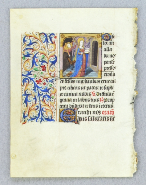 TEXT FROM THE SUFFRAGES OF THE SAINTS. FROM AN ENGAGING LITTLE BOOK OF HOURS IN LATIN AN ILLUMINATED VELLUM MANUSCRIPT LEAF WITH A. SMALL MINIATURE OF SAINT GENEVIEVE.