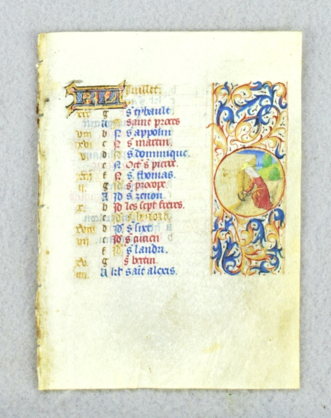 TEXT FOR JULY, WITH ILLUSTRATIONS OF REAPING AND LEO. DEPICTING THE LABOR OF THE MONTH AN ILLUMINATED VELLUM CALENDAR LEAF FROM A. BOOK OF HOURS.