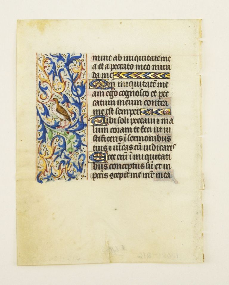WITH FINELY EXECUTED PANEL BORDERS FEATURING DELIGHTFUL ZOOMORPHIC INHABITATION. OFFERED INDIVIDUALLY ILLUMINATED VELLUM MANUSCRIPT LEAVES, FROM AN ENGAGING LITTLE BOOK OF HOURS IN LATIN.