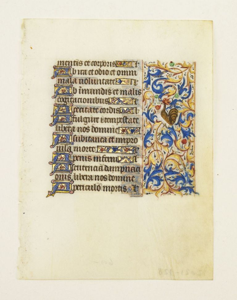 WITH FINELY EXECUTED PANEL BORDER FEATURING DELIGHTFUL ZOOMORPHIC INHABITATION. FROM AN ENGAGING LITTLE BOOK OF HOURS IN LATIN AN ILLUMINATED VELLUM MANUSCRIPT LEAF.