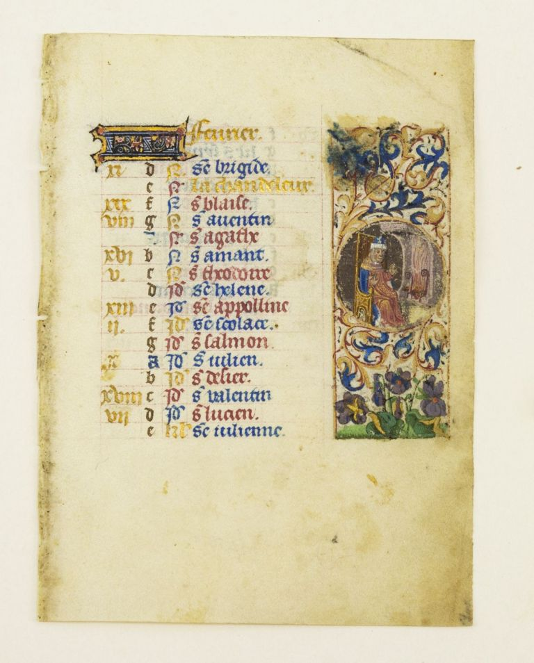 TEXT FOR THE MONTH OF FEBRUARY. FROM AN ENGAGING LITTLE BOOK OF HOURS IN LATIN ILLUMINATED VELLUM MANUSCRIPT CALENDAR LEAF.