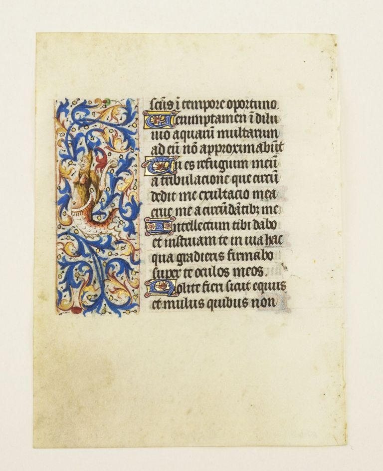 WITH FINELY EXECUTED PANEL BORDERS FEATURING DELIGHTFUL ZOOMORPHIC INHABITATION. FROM AN ENGAGING LITTLE BOOK OF HOURS IN LATIN AN ILLUMINATED VELLUM MANUSCRIPT LEAF.
